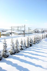 冬の線路の写真素材 [FYI00177433]