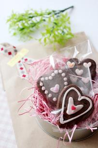 ハートのクッキーピンクの写真素材 [FYI00177435]