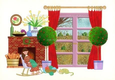冬の日の編み物の写真素材 [FYI00178460]