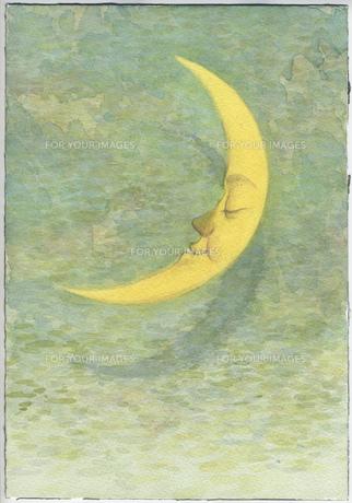 三日月物語の水彩画の写真素材 [FYI00179938]