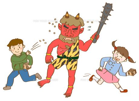 子供たちと鬼の写真素材 [FYI00180049]
