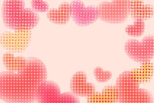 水玉ハートフレーム レッドの写真素材 [FYI00180521]
