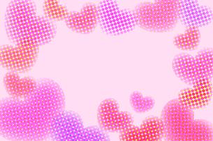 水玉ハートフレーム ピンクの写真素材 [FYI00180523]