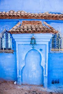 モロッコ シャウエンの青い壁の素材 [FYI00180992]