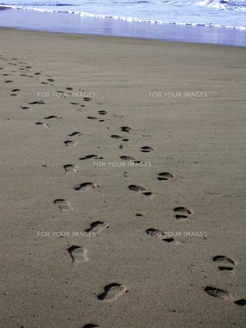 砂浜の足跡の素材 [FYI00181123]