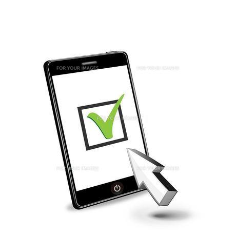 スマートフォンとチェックボックスの写真素材 [FYI00181320]