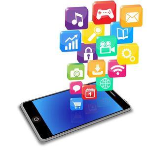 スマートフォンとアプリケーションの写真素材 [FYI00181324]