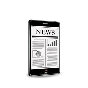 スマートフォンで新聞を読むの写真素材 [FYI00181325]