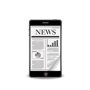 スマートフォンでめくる新聞の写真素材 [FYI00181336]