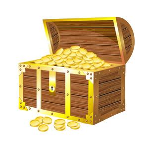宝箱と金貨の写真素材 [FYI00181355]