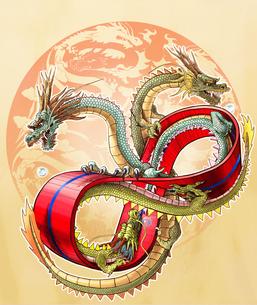 メビウスの輪と三頭の龍の写真素材 [FYI00181734]