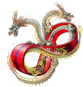 メビウスの輪と三頭の龍 白バックの写真素材 [FYI00181737]
