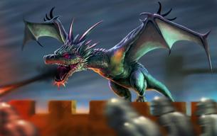 中世の城にあらわれたドラゴンの写真素材 [FYI00181740]