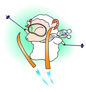 スキーする羊の素材 [FYI00182095]