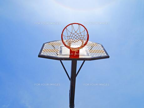 青い空とバスケットゴールの写真素材 [FYI00185933]
