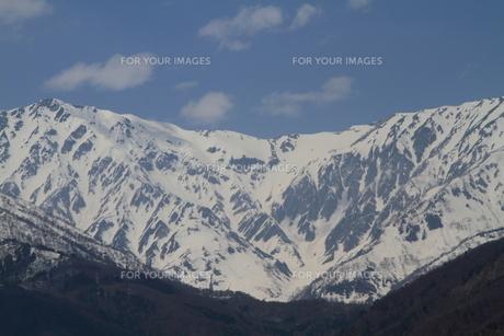 雪形 白馬岳の代かき馬の写真素材 [FYI00186081]