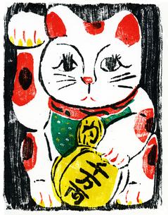 招き猫_木版画の写真素材 [FYI00186321]