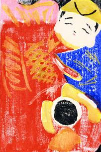 大漁に喜ぶ恵比寿様_木版画の写真素材 [FYI00186371]