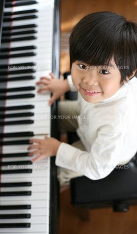 ピアノを弾く男の子の写真素材 [FYI00186442]