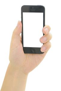 スマートフォンを持つ手の写真素材 [FYI00186499]
