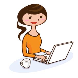 パソコンをする女性の写真素材 [FYI00187502]