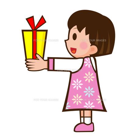プレゼントと少女の写真素材 [FYI00187532]