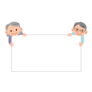 掲示板を持つ老夫婦の写真素材 [FYI00187566]