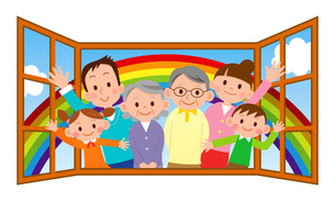 幸せ大家族 虹と窓の写真素材 [FYI00187587]
