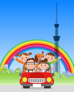 ドライブ 東京スカイツリー 虹の写真素材 [FYI00187612]