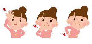 女性 頭痛 腰痛 肩こりの写真素材 [FYI00187629]