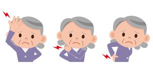 シニア女性 頭痛 腰痛 肩こりの写真素材 [FYI00187642]