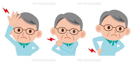 シニア男性 頭痛 腰痛 肩こりの写真素材 [FYI00187645]