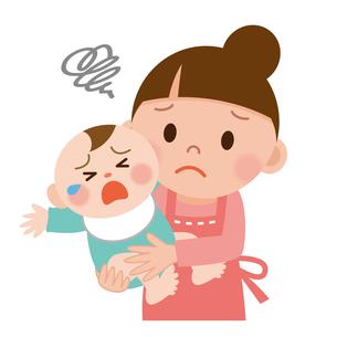 お母さんと泣いてる赤ちゃんの写真素材 [FYI00187675]