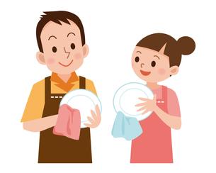 皿を拭くカップルの写真素材 [FYI00187677]