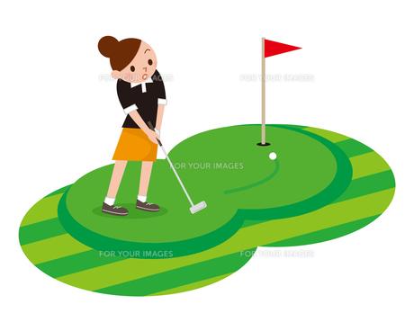 ゴルフを楽しむ女性の写真素材 [FYI00187679]