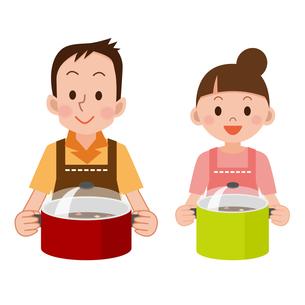 料理をする夫婦の写真素材 [FYI00187681]