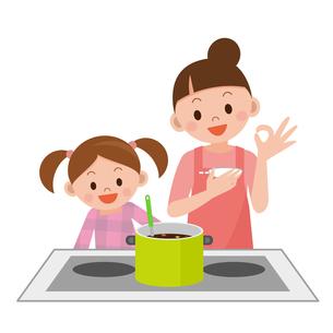 料理をする親子の写真素材 [FYI00187693]