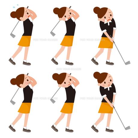 ゴルフスイング 女性セットの写真素材 [FYI00187694]