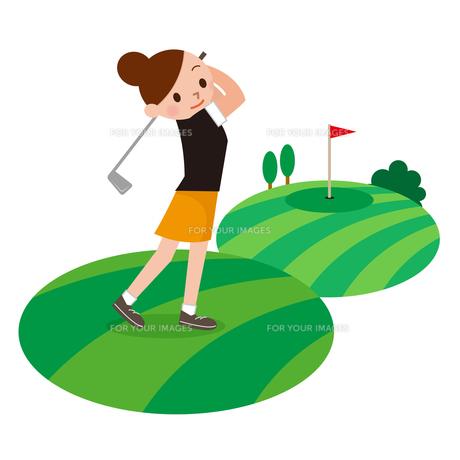 ゴルフを楽しむ女性の写真素材 [FYI00187695]