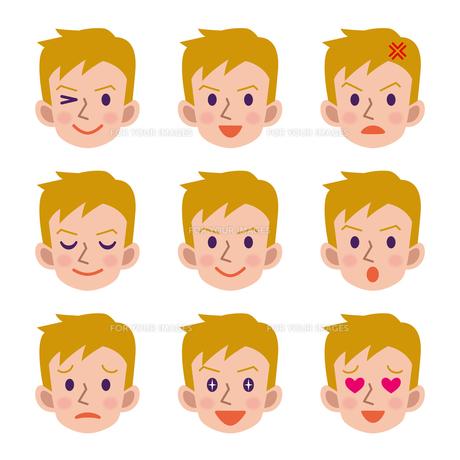 男性の表情セットの写真素材 [FYI00187744]