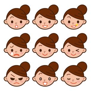 女性の表情セットの写真素材 [FYI00187745]