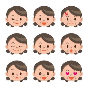 シニア女性の表情セットの写真素材 [FYI00187747]