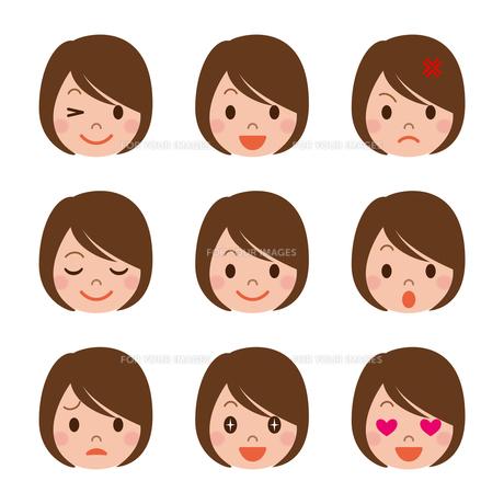 女性の表情セットの写真素材 [FYI00187750]