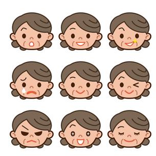 シニア女性の表情セットの写真素材 [FYI00187752]