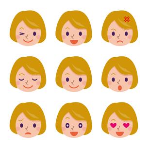 女性の表情セットの写真素材 [FYI00187757]