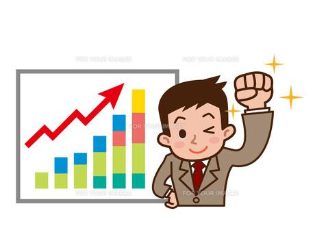 ビジネスマンと上昇グラフの写真素材 [FYI00187761]