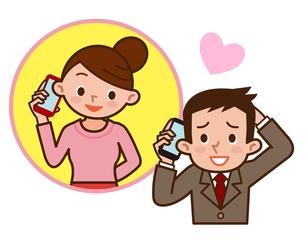 スマートフォンで会話する夫婦の写真素材 [FYI00187769]