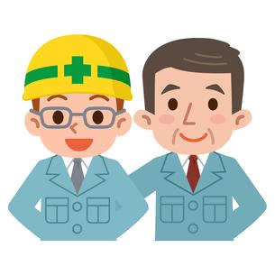 作業着の若手従業員と上司の写真素材 [FYI00187779]