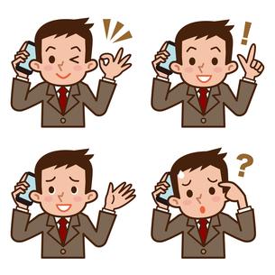 スマートフォンで会話する男性のセットの写真素材 [FYI00187782]