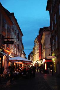 スロベニア首都リュブリャナの夜の写真素材 [FYI00188149]